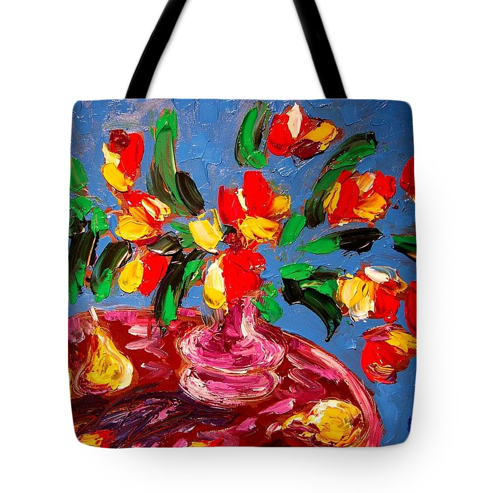 Nature Framed Prints Tote Bag featuring the painting Tulips Vase by Mark Kazav