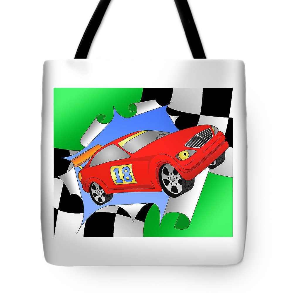 Racing Car Tote Bag featuring the digital art Turbo by Alison Stein