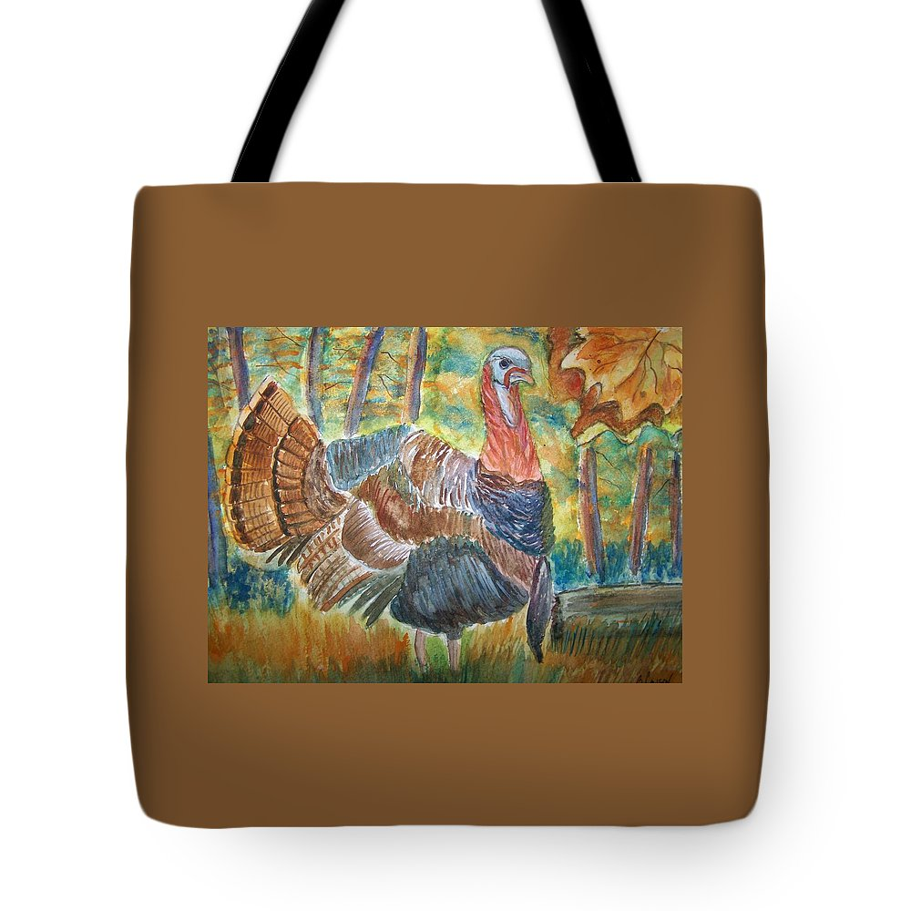 Wildlife Tote Bag featuring the painting Turkey In Fall by Belinda Lawson
