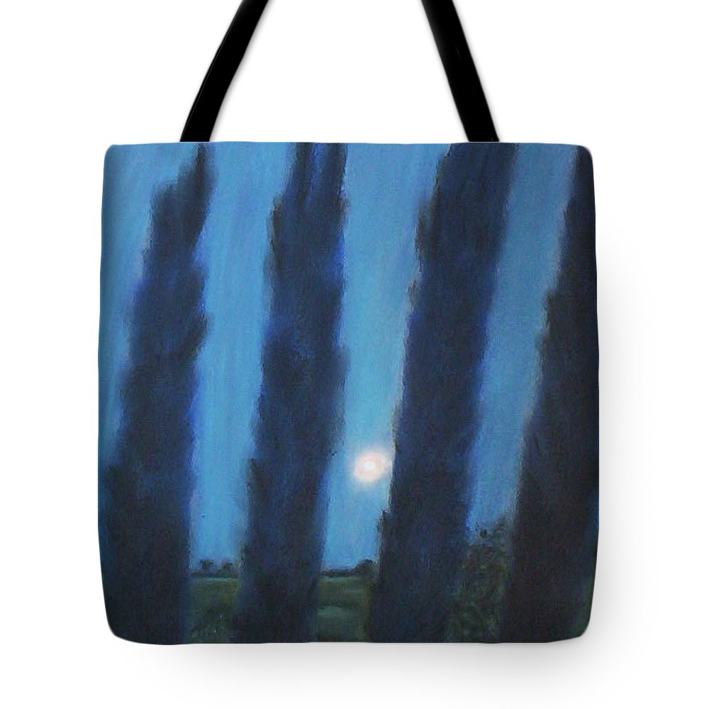 Cyprus Trees Tote Bag featuring the pastel Tuscan Cyprus Trees by Julie Brugh Riffey