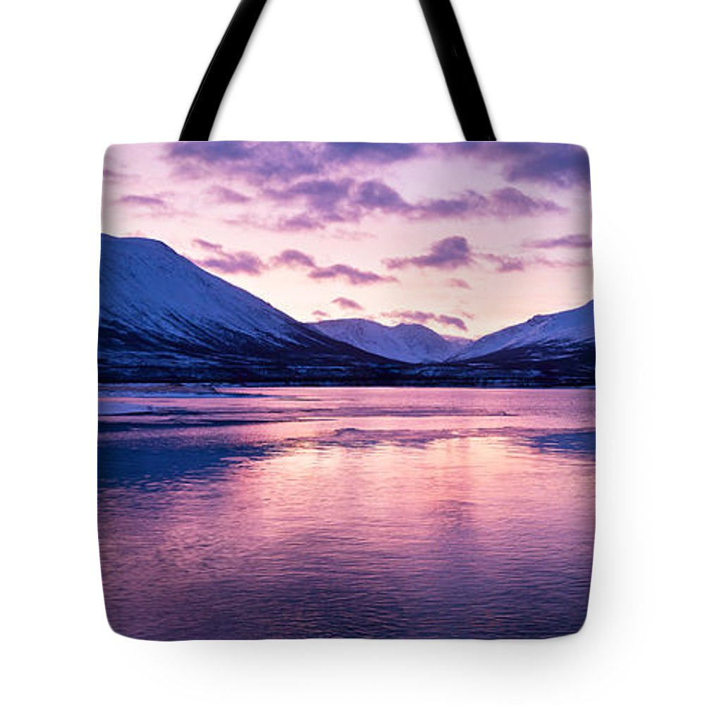 Beautiful Tote Bag featuring the photograph Twilight Above A Fjord In Norway With Beautifully Colors by U Schade
