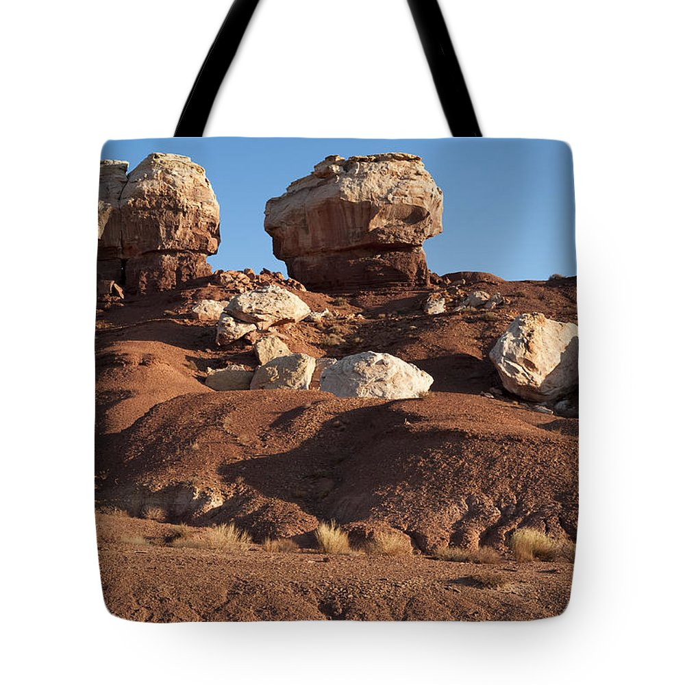 Capitol Reef Tote Bag featuring the photograph Twin Rocks Capitol Reef Np by Sandra Bronstein