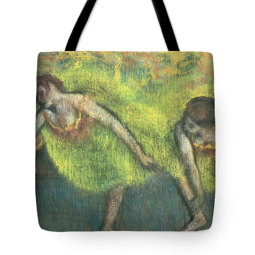 Two Dancers Relaxing Tote Bag featuring the painting Two Dancers Relaxing by Edgar Degas