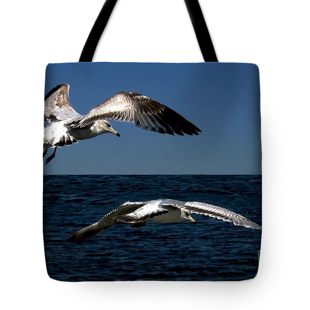 Seabirds Tote Bag featuring the digital art Two Gulls by Dale  Ford