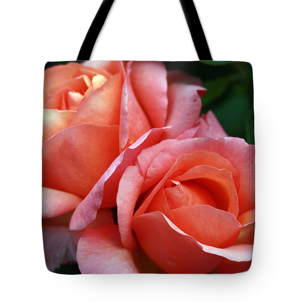 Roses Tote Bag featuring the photograph two by Milena Boeva