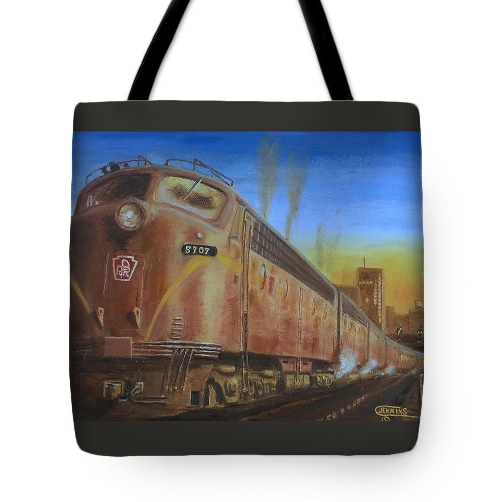 Train Tote Bag featuring the painting Two Minutes Late by Christopher Jenkins