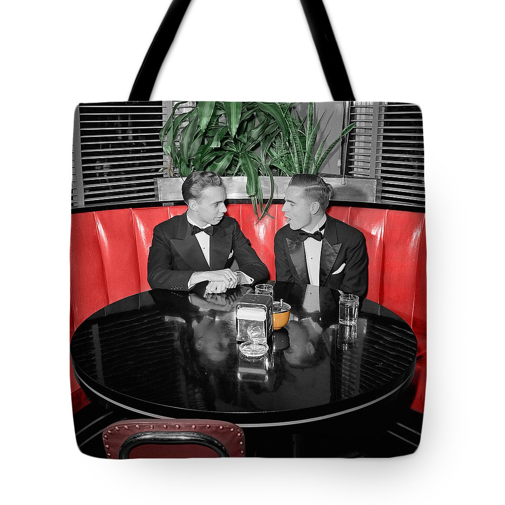 Fifties Tote Bag featuring the photograph Two Tuxedos by Andrew Fare