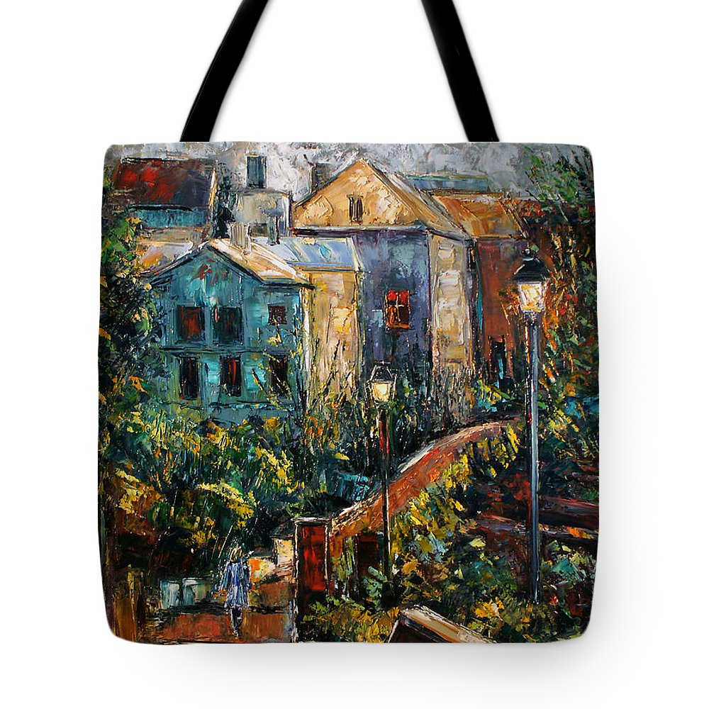 Village Tote Bag featuring the painting Two Village Lamps by Debra Hurd