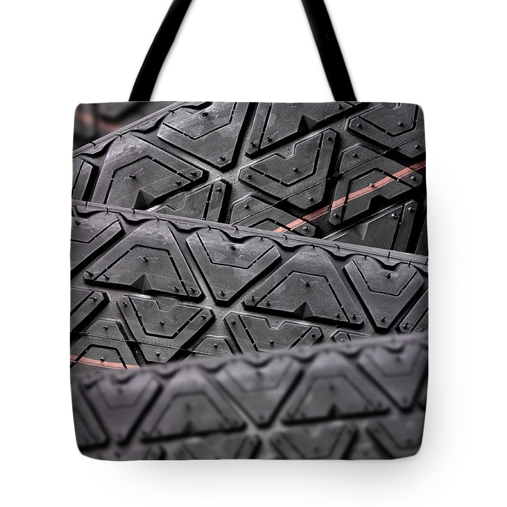 Automobile Tote Bag featuring the photograph Tyres Stacked With Focus Depth by Simon Bratt Photography LRPS
