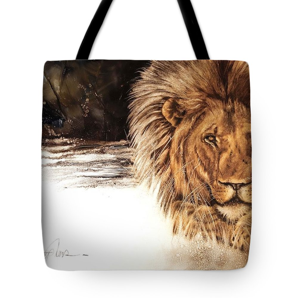 African Lion Tote Bag featuring the painting Ubathi Boss by Virgil Stephens