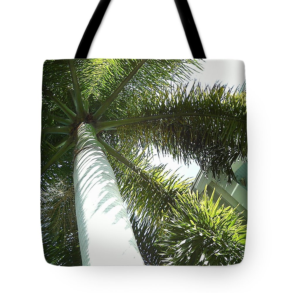 Palm Tote Bag featuring the photograph Under The Palm by Jan Prewett