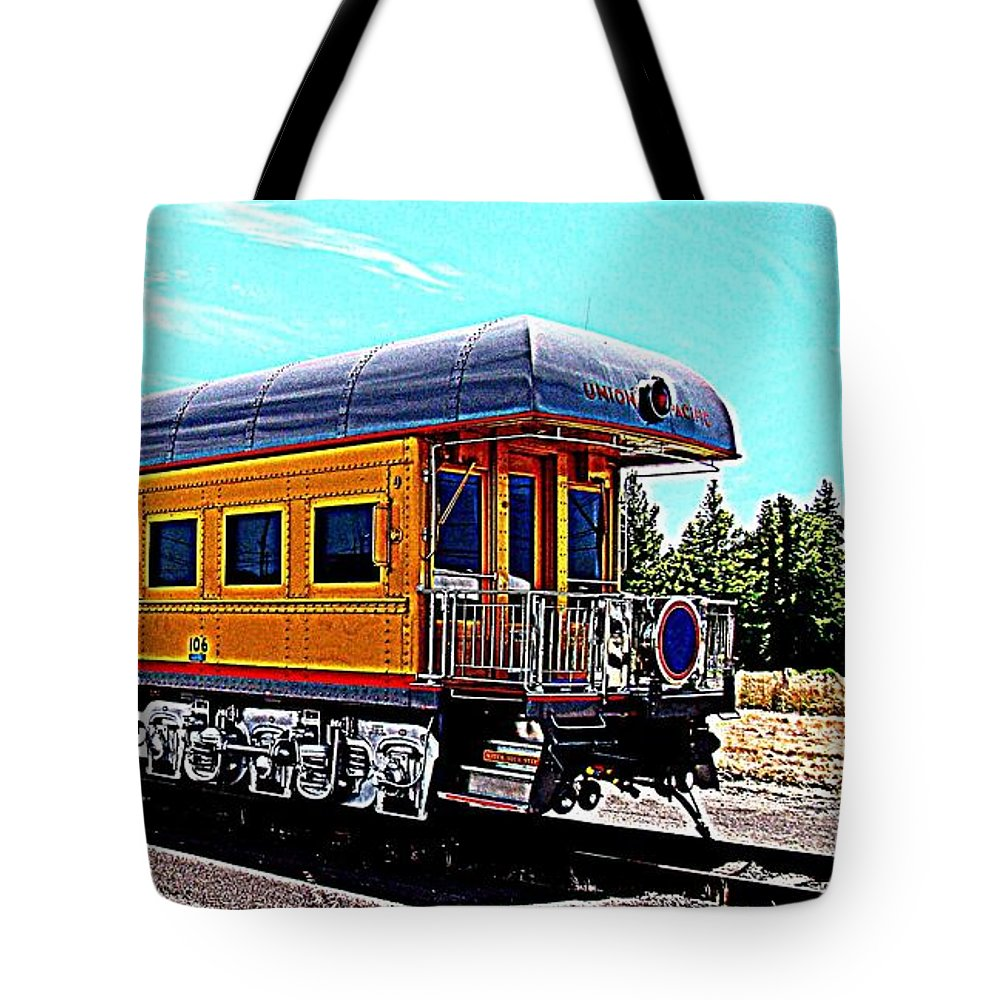 Railroad Tote Bag featuring the photograph Union Pacific Observation Car In Hdr by Nick Kloepping
