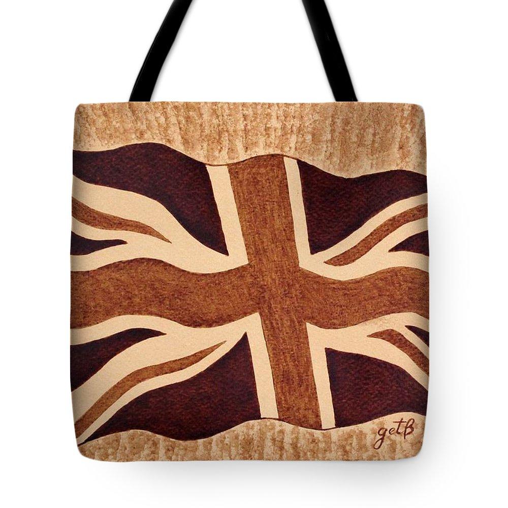 British Flag Tote Bag featuring the painting United Kingdom Flag Coffee Painting by Georgeta Blanaru