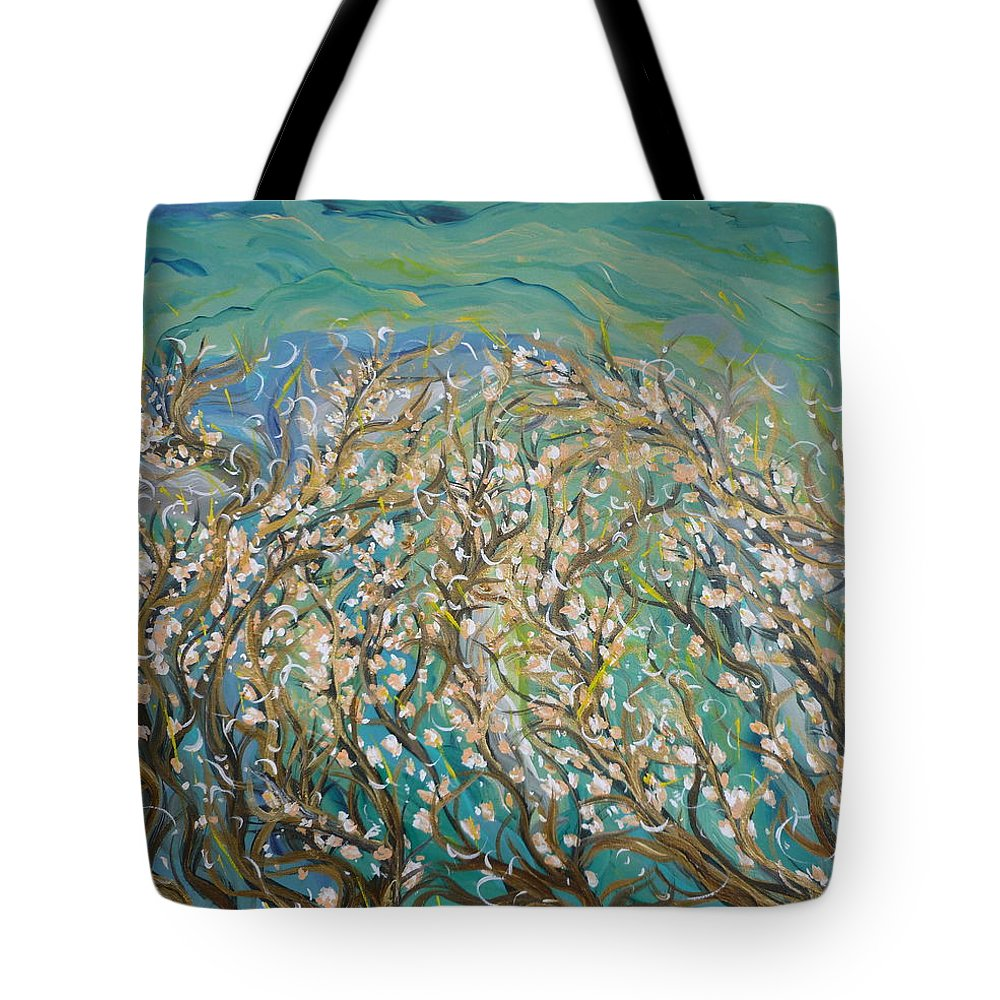 Inspirational Tote Bag featuring the painting Untangling by Sara Credito
