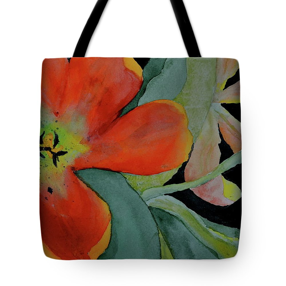 Tulips Tote Bag featuring the painting Up Front by Beverley Harper Tinsley