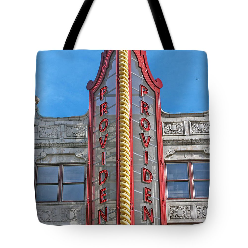 Sign Tote Bag featuring the photograph Up In Lights by Erin Rosenblum
