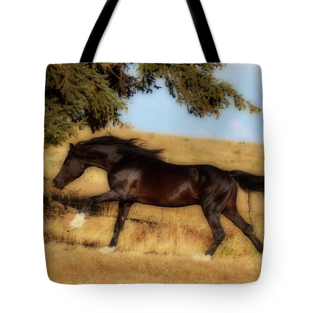 Uphilll Gallop Tote Bag featuring the photograph Uphilll Gallop by Wes and Dotty Weber