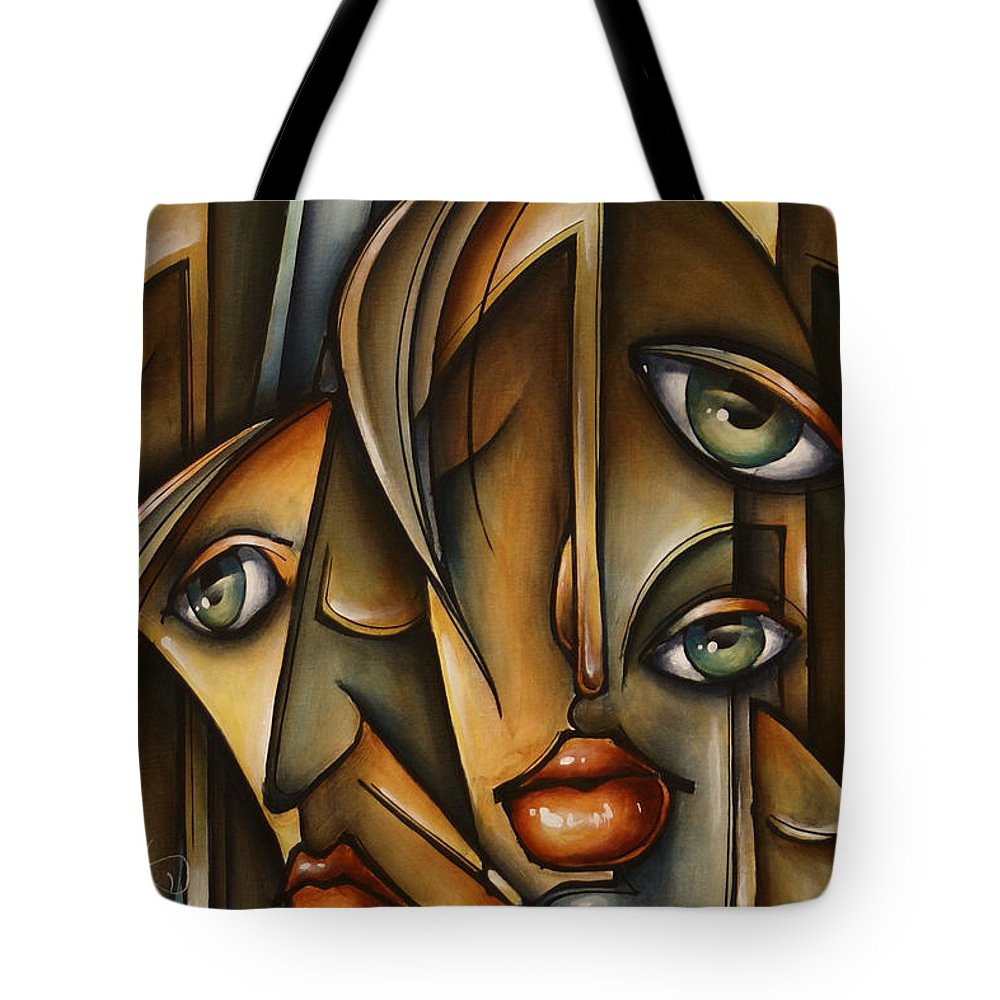 Figurative Tote Bag featuring the painting Urban Expression by Michael Lang