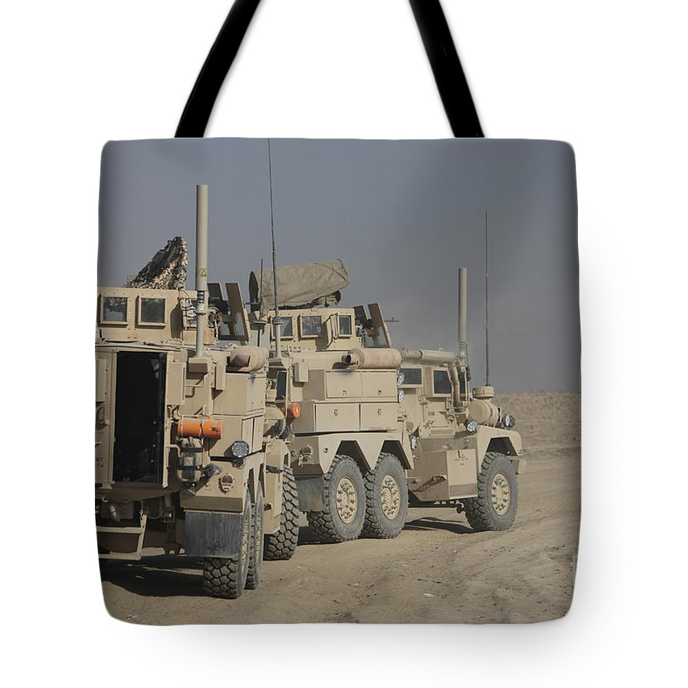 Kunduz Tote Bag featuring the photograph U.s. Army Cougar Mrap Vehicles by Terry Moore