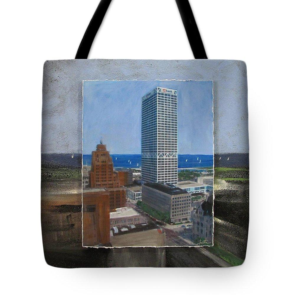 City Tote Bag featuring the mixed media Us Bank Lake Michigan Layered by Anita Burgermeister
