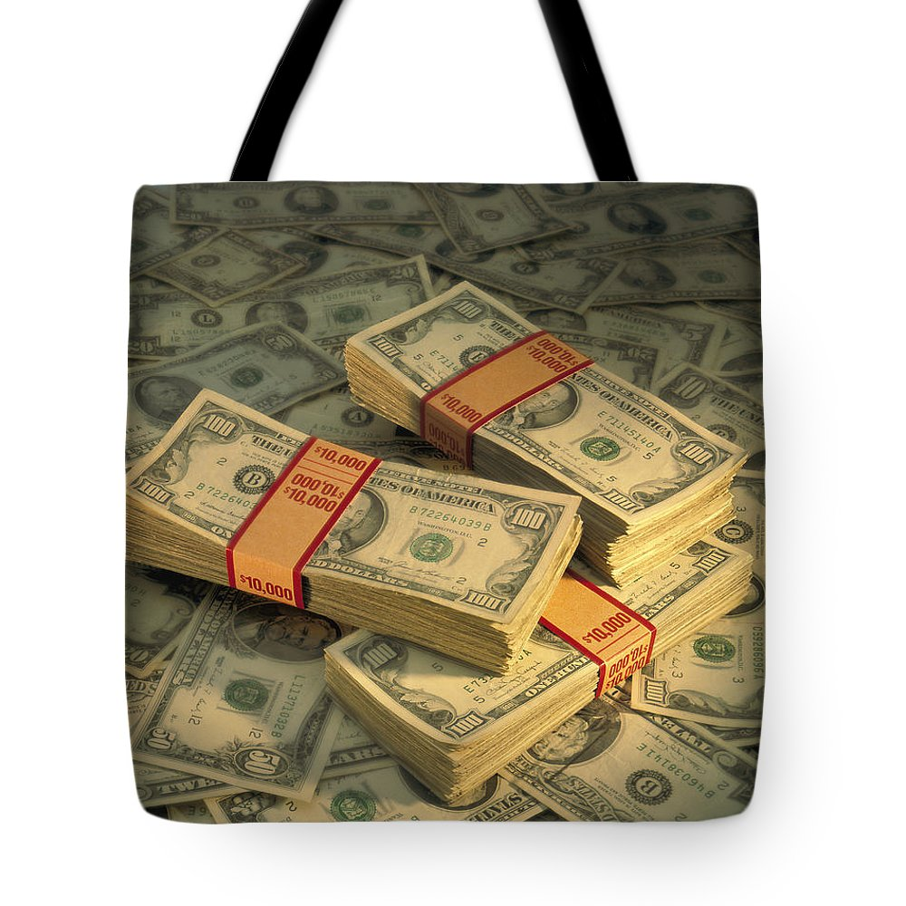 American Paper Money Tote Bag featuring the photograph U.s. Paper Money by Peter Krogh