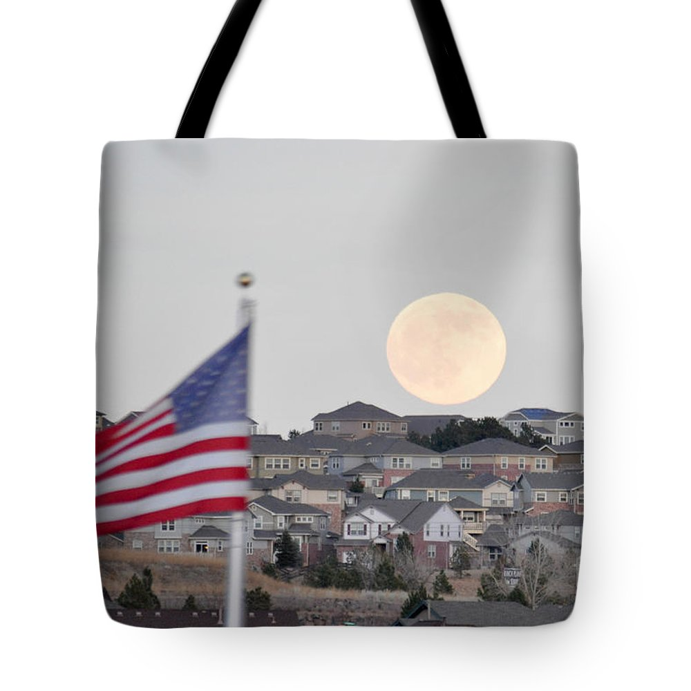 Usa Tote Bag featuring the photograph Usa Flag And Moon by Cheryl McClure