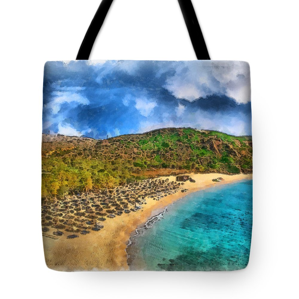 Rossidis Tote Bag featuring the painting Vai Beach by George Rossidis