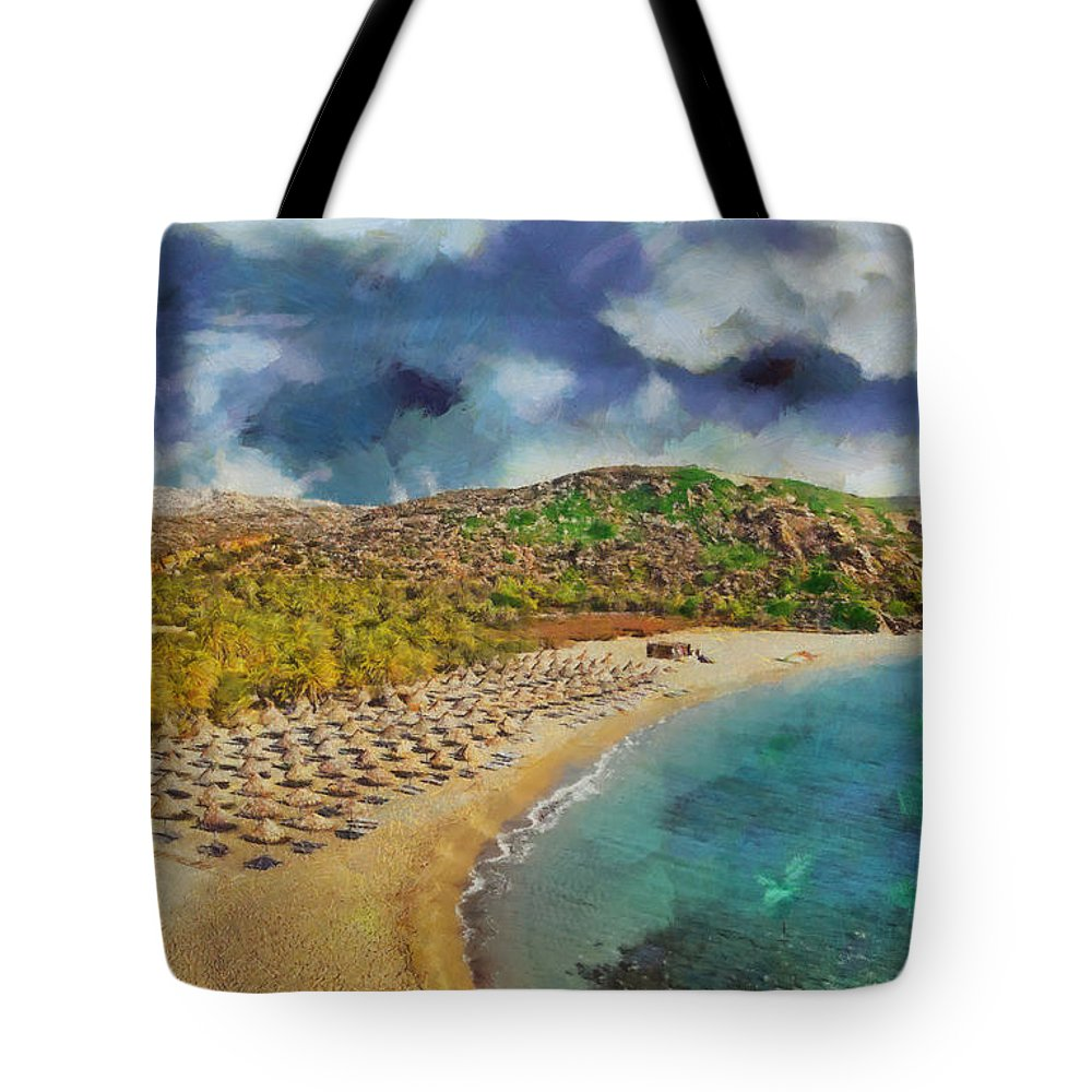 Rossidis Tote Bag featuring the painting Vai Beach II by George Rossidis
