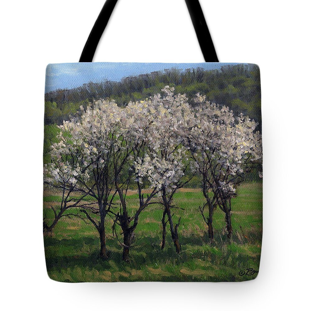 Landscape Tote Bag featuring the painting Valley Plum Thicket by Bruce Morrison