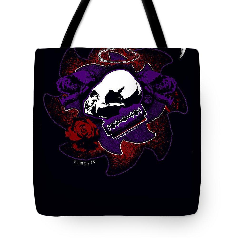 Vampire Tote Bag featuring the mixed media Vampyre by Tony Koehl