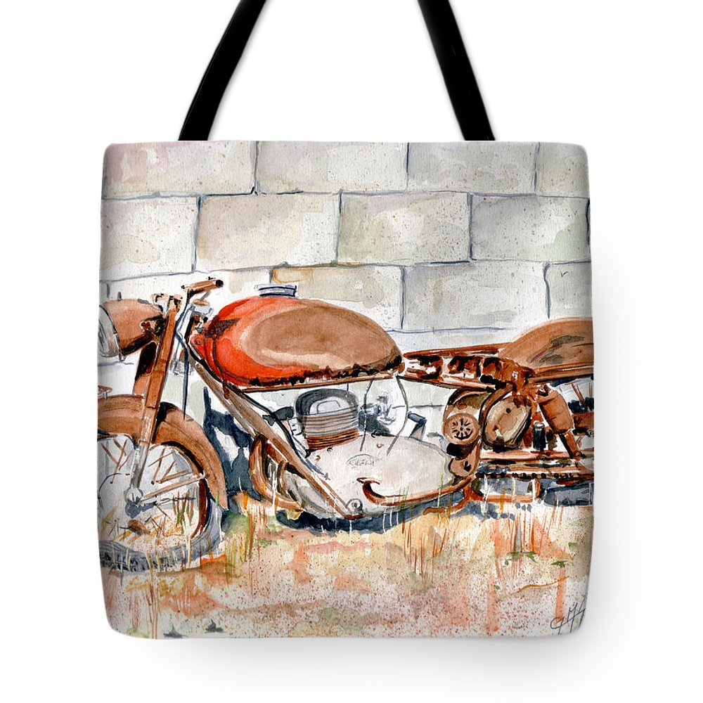 Still Life Tote Bag featuring the painting Vecchia Gilera by Giovanni Marco Sassu