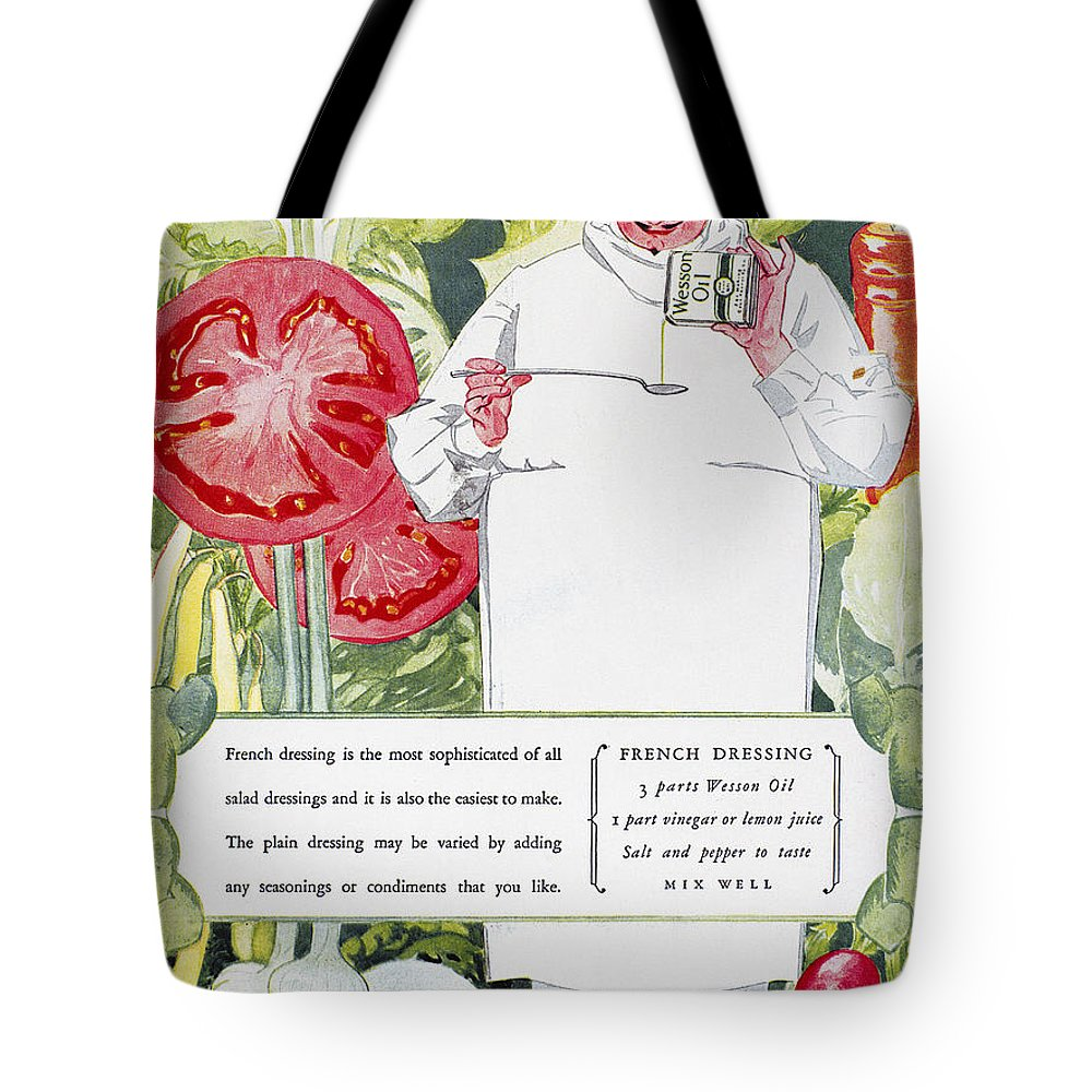 1926 Tote Bag featuring the photograph Vegetable Oil Ad, 1926 by Granger