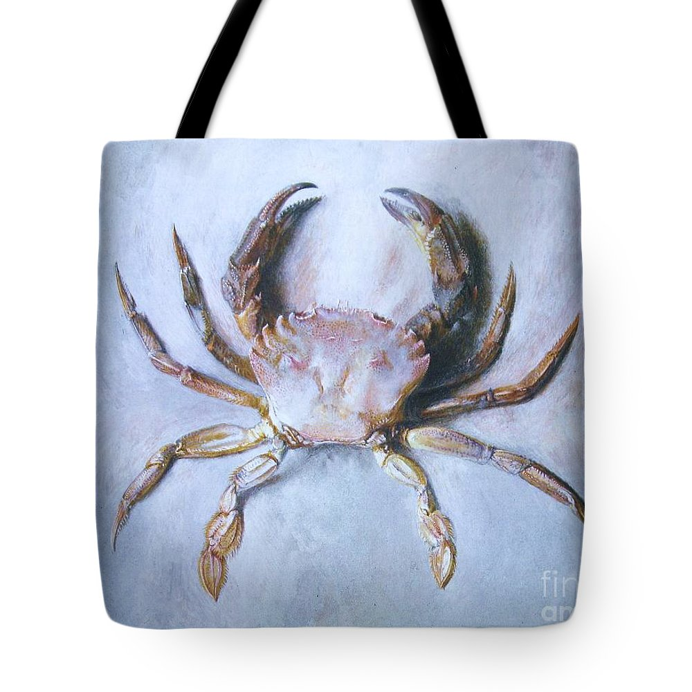 Pd Tote Bag featuring the painting Velvet Crab Study by Pg Reproductions