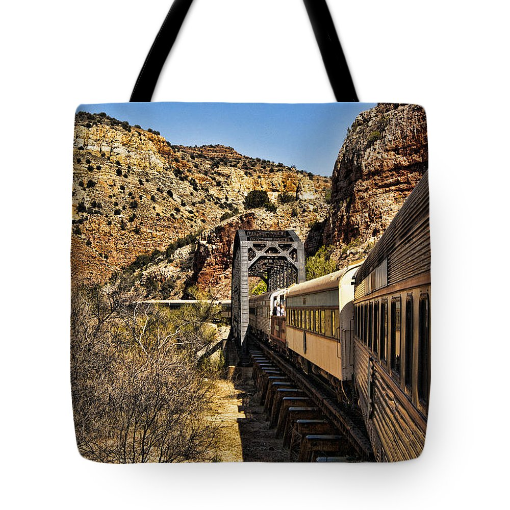 Cottonwood Tote Bag featuring the photograph Verde Valley Railway by Jon Berghoff
