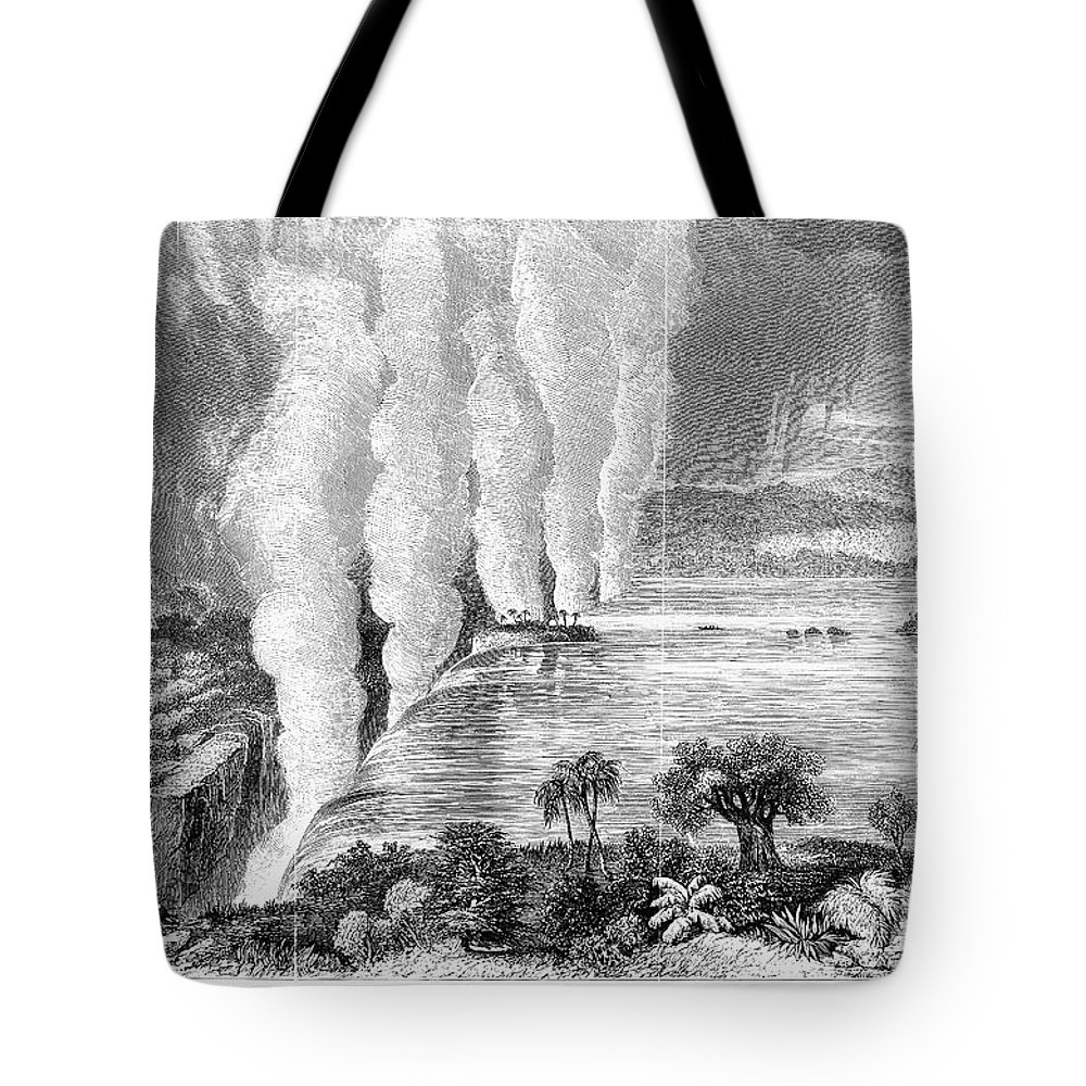 1860 Tote Bag featuring the photograph Victoria Falls, C1860 by Granger