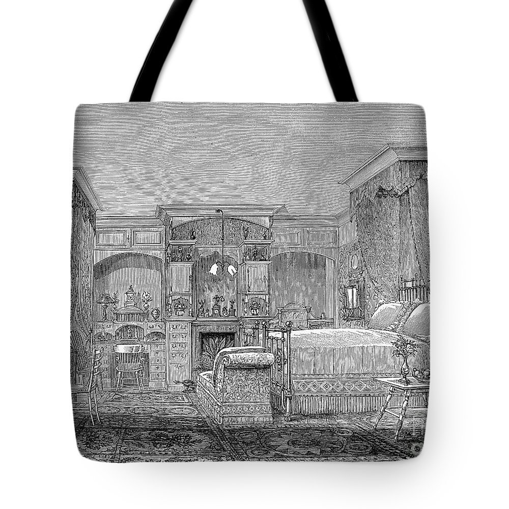 1884 Tote Bag featuring the photograph Victorian Bedroom, 1884 by Granger