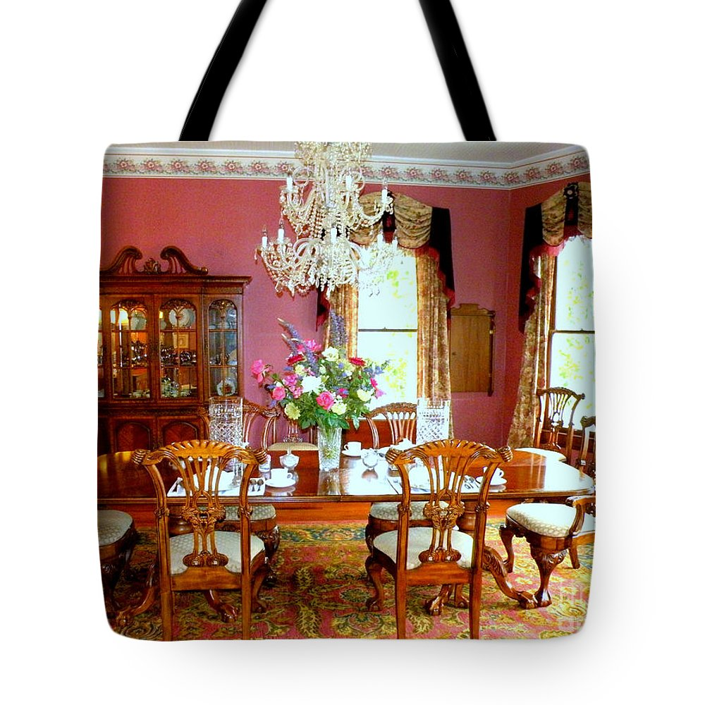 Bed And Breakfast Dining Room Tote Bag featuring the photograph Victorian Dining by Kathy White