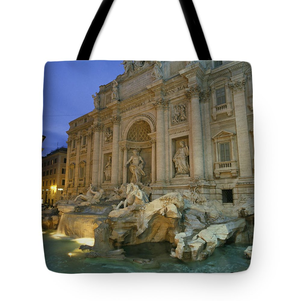Europe Tote Bag featuring the photograph View At Dusk Of The Trevi Fountain by Richard Nowitz