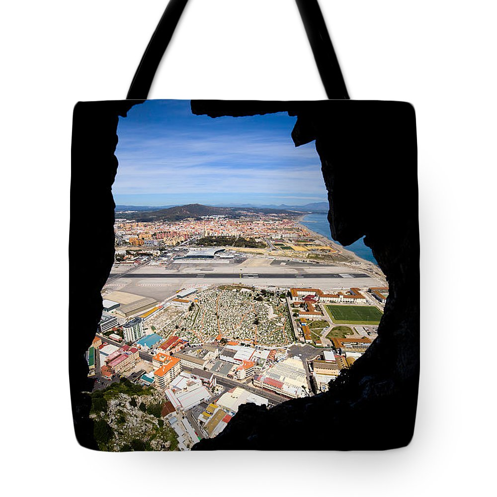 Gibraltar Tote Bag featuring the photograph View From Inside Of The Gibraltar Rock by Artur Bogacki