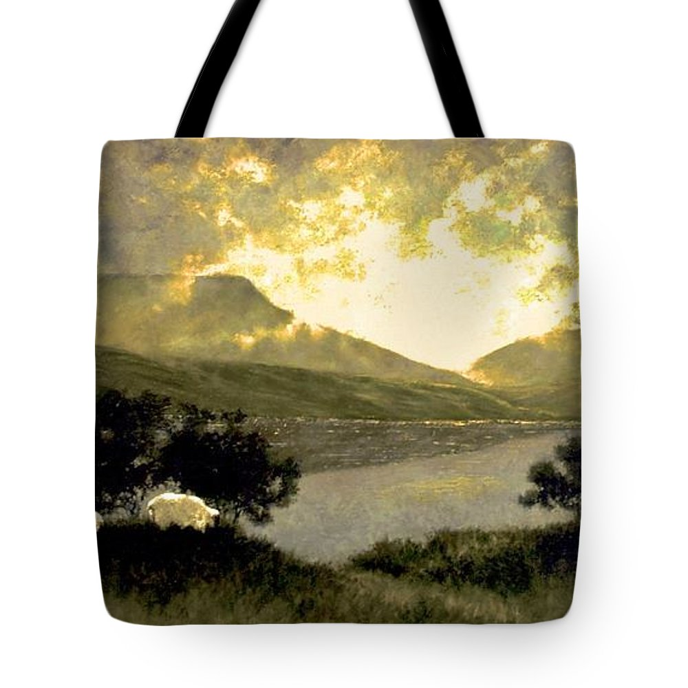 Oil Tote Bag featuring the painting View Of Ben Bulben by Jim Gola
