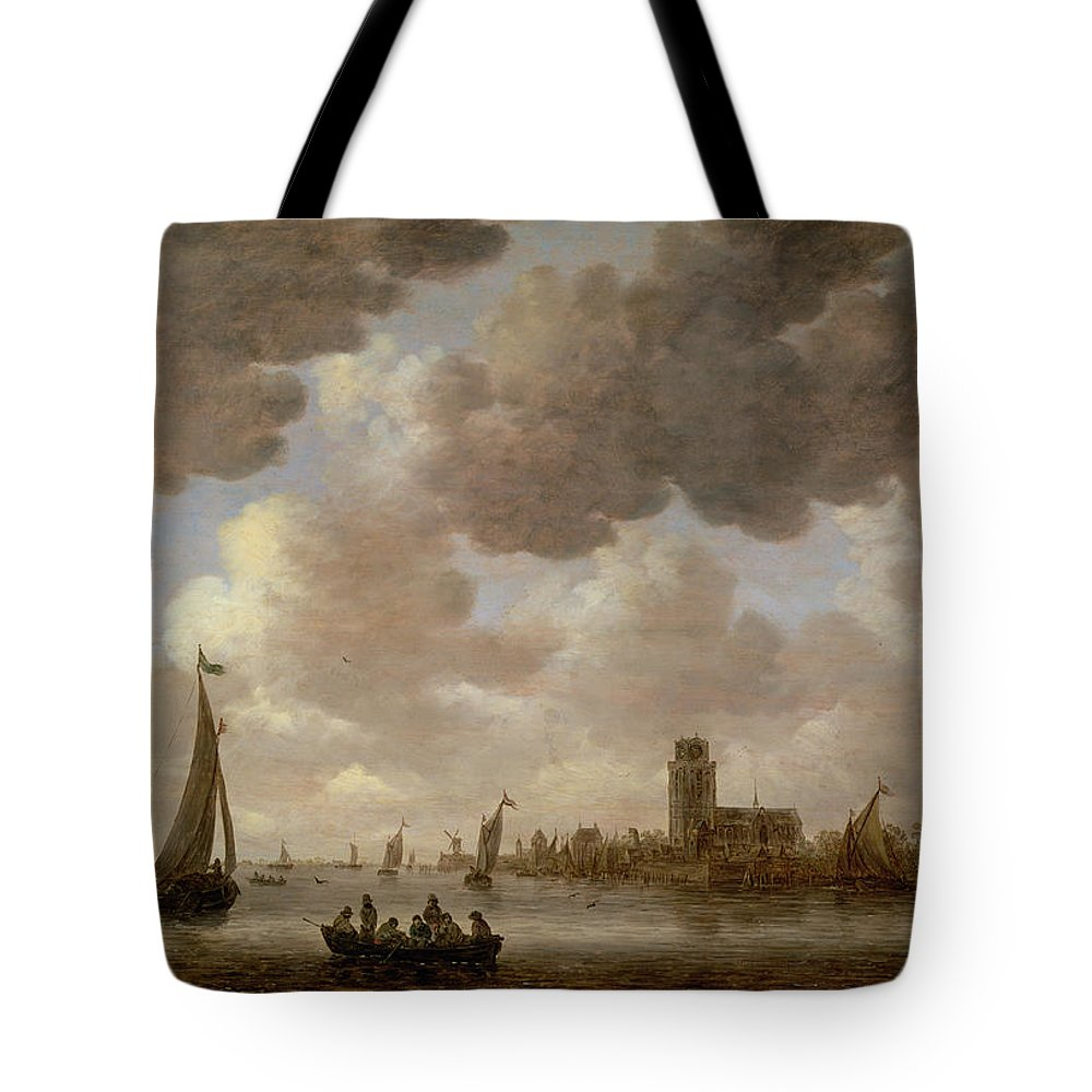 Cathedral; Landscape; Church; Windmill; Boats; Canal; River; Cloud Tote Bag featuring the painting View Of Dordrecht Downstream From The Grote Kerk by Jan Josephsz van Goyen