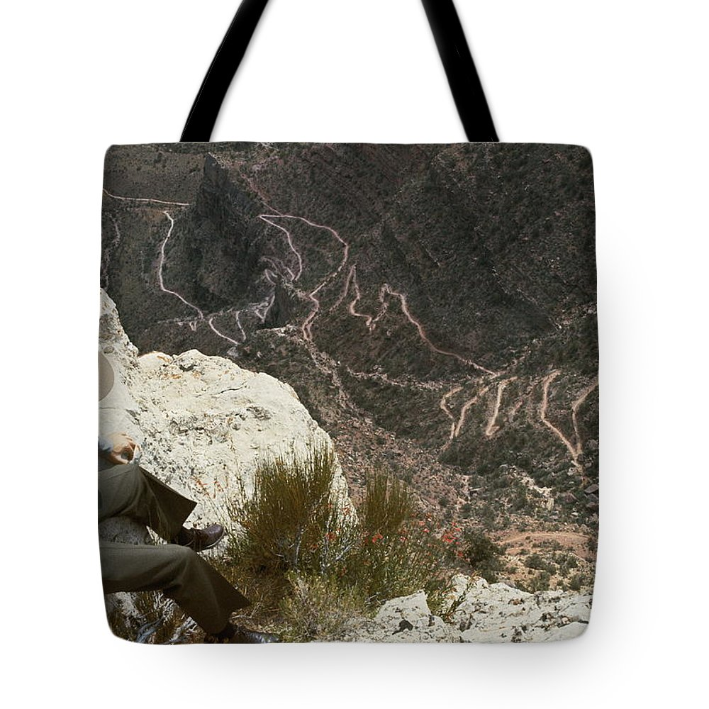 grand Canyon National Park Tote Bag featuring the photograph View Of Hiking Trails From High Above by Walter Meayers Edwards