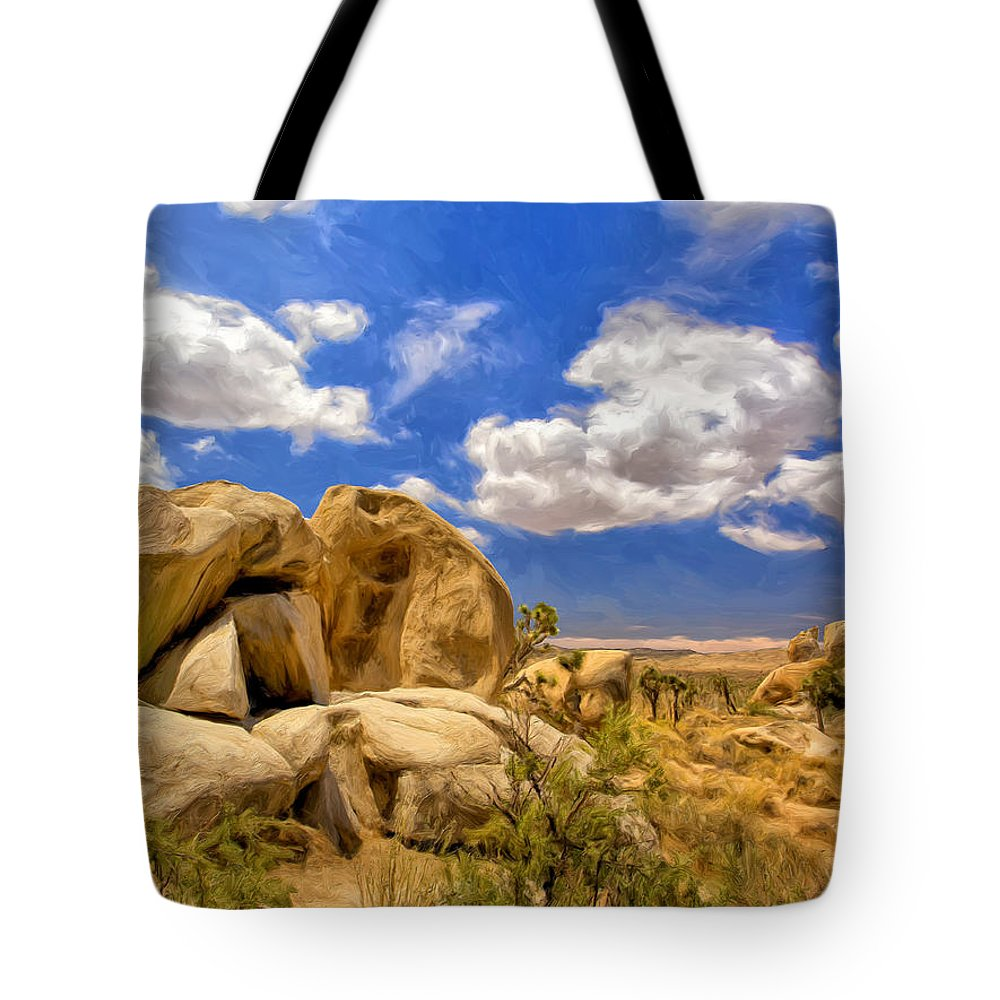 View Of Joshua Tree Tote Bag featuring the painting View Of Joshua Tree by Dominic Piperata