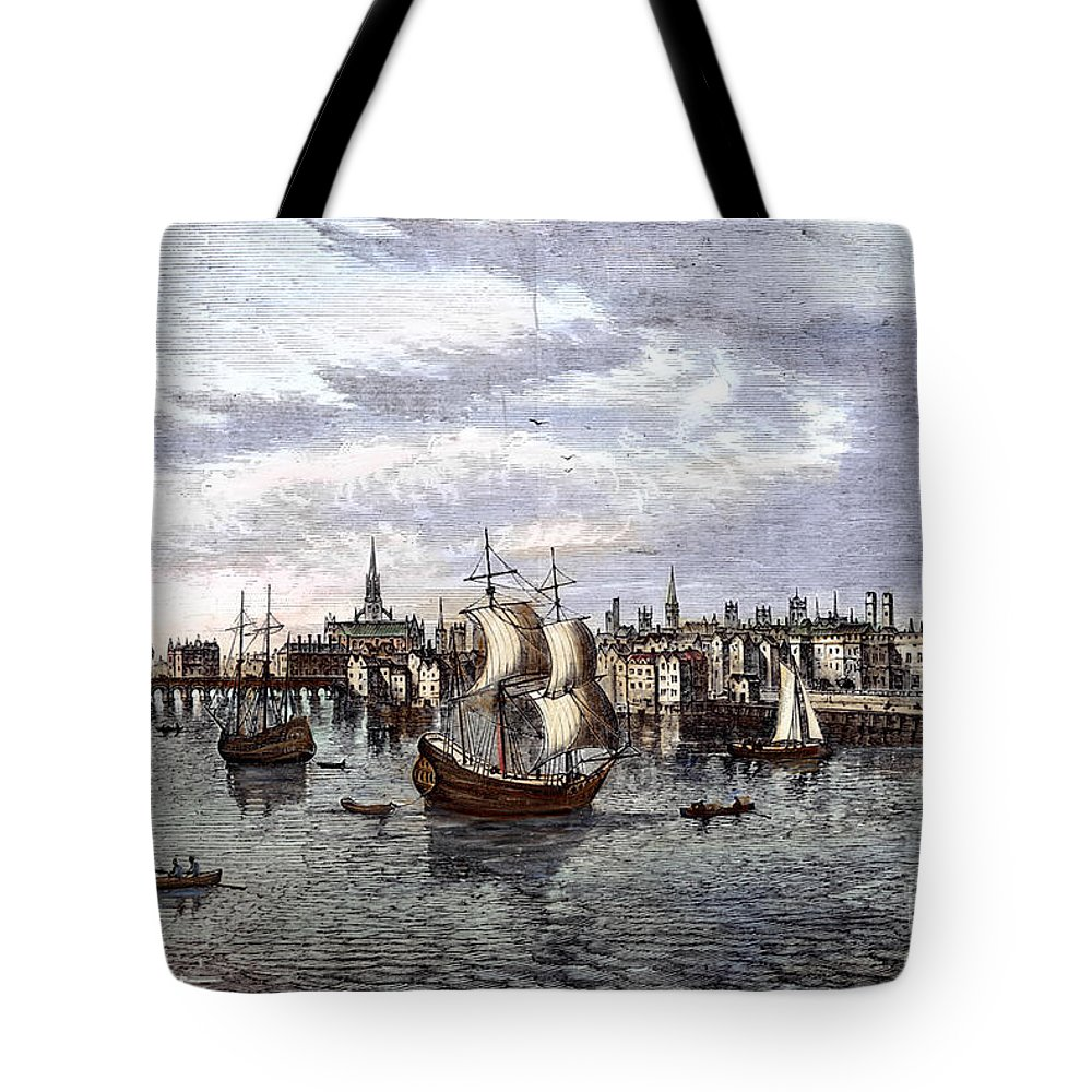 1550 Tote Bag featuring the photograph View Of London, 1550 by Granger