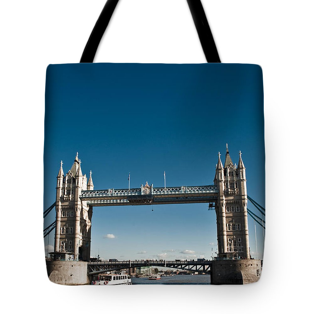 Photography Tote Bag featuring the photograph View Of London Bridge From The Thames by Jorge Fajl