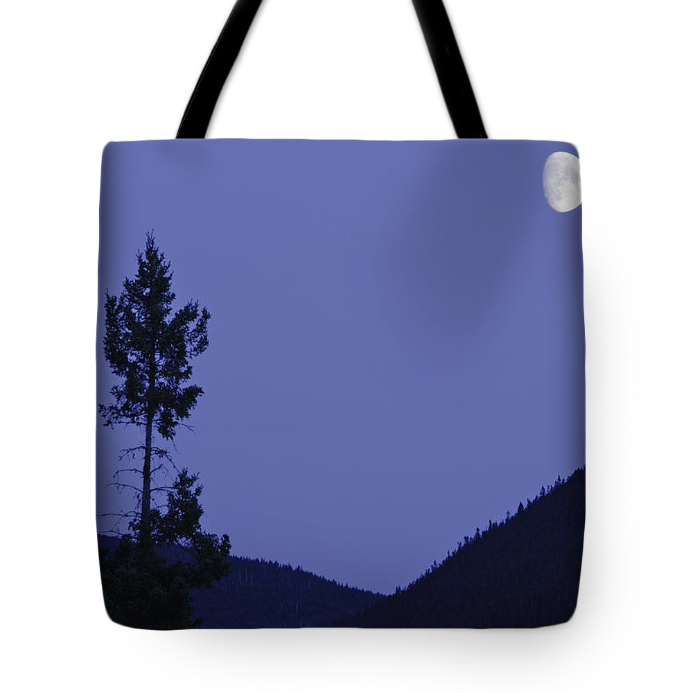 Color Tote Bag featuring the photograph View Of Moon And Mountains, Gaspesie by Yves Marcoux