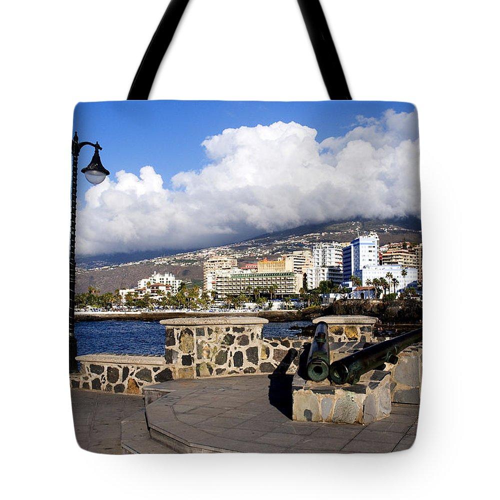 Puerto De La Cruz Tote Bag featuring the photograph View Of Puerto De La Cruz From Plaza De Europa by Fabrizio Troiani
