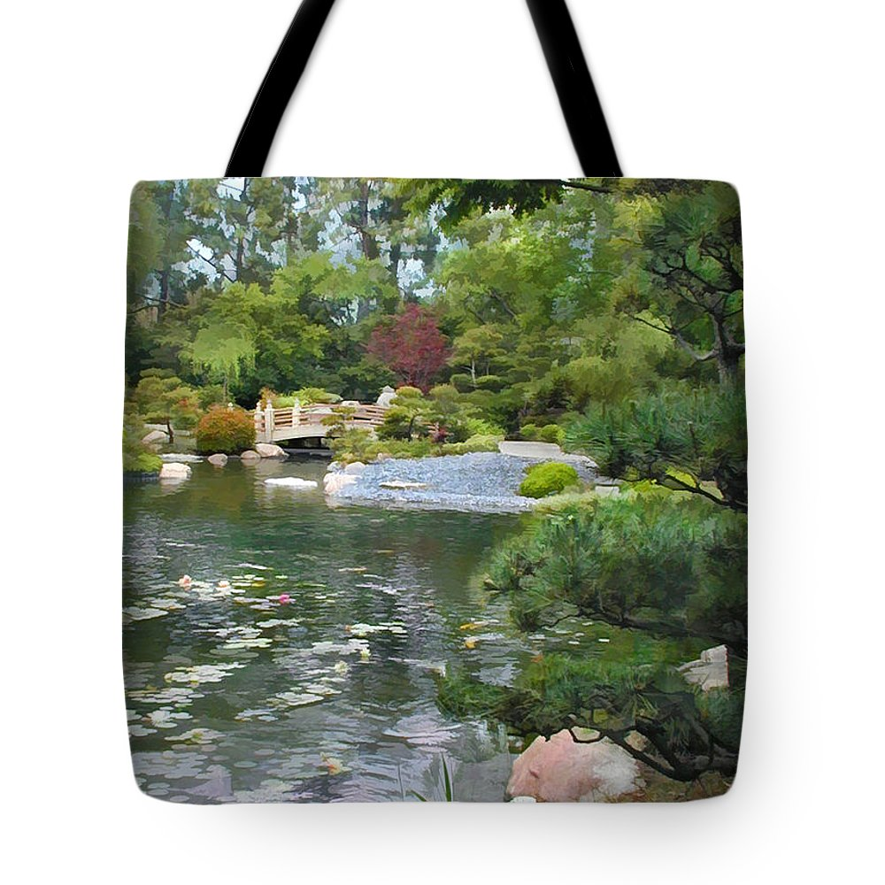 Japanese Garden Tote Bag featuring the painting View To A Bridge by Elaine Plesser