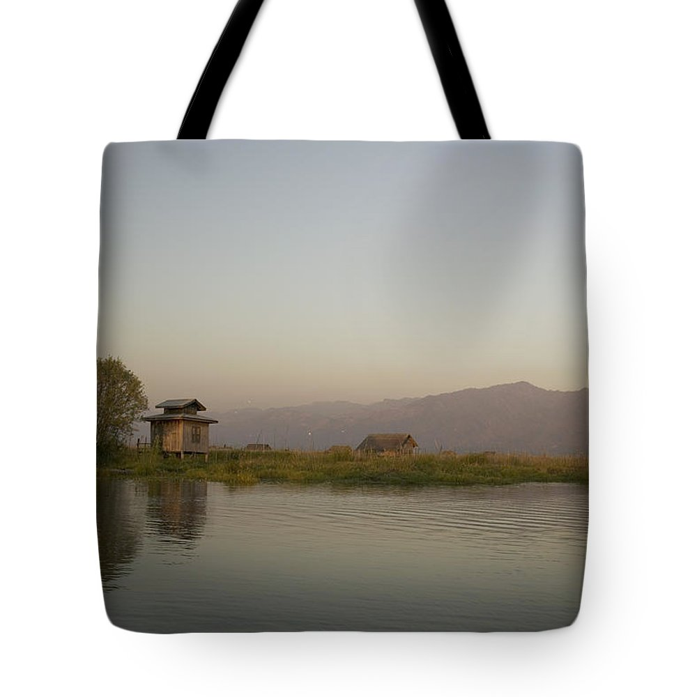 Building Tote Bag featuring the photograph Village Houses And Mountains, Inle by Huy Lam