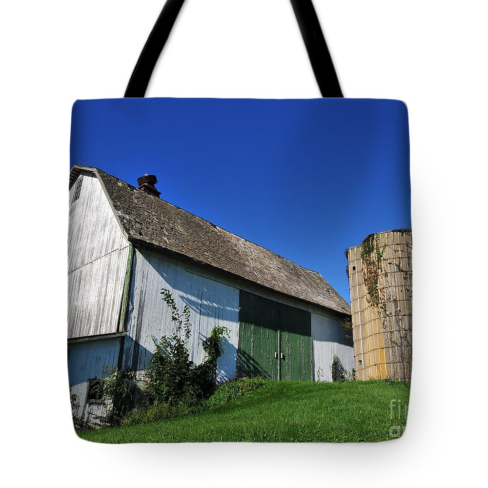 Tote Bag featuring the photograph Vintage American Barn And Silo 1 Of 2 by Terri Winkler
